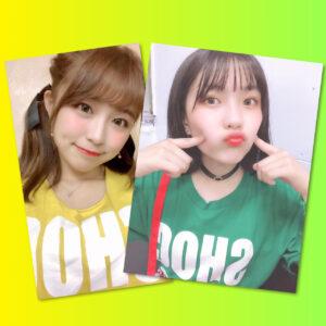 SHOCKiNG EGO メンバーカラーTシャツ着用写真(イエロー:サヤカスター / グリーン:Yui Pod-Pro)